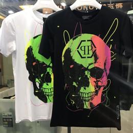 camiseta de pescoço homens negros Desconto O Pescoço Aptidão Tshirt Tops de Alta Qualidade Rapidamente Verão PP T-Shirt dos homens de Preto Crânios Impressão Estilo Rock Respirável de Manga Curta Marca T NN