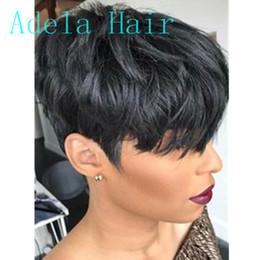 peluca rihanna pelo humano Rebajas Pelucas rectas del frente corto del cordón del pelo humano del 100% para las mujeres negras La máquina de la peluca del duendecillo hizo la peluca corta