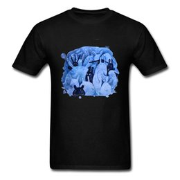 Canada Art Design Bleu Lapin Imprimer Hommes noir T-shirt Mignon De Pâques Jour De Bande Dessinée Cadeau T-shirt Aquarelle Lapin Animaux Amoureux Tops cheap black lovers art Offre