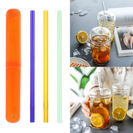 4pcs Straws+1pc Brush Borosilicate Glass Color Bend Drinking Straws 9mm*9/""