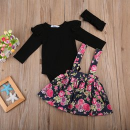 ea1d04092bdb Autumn baby girl clothes set Kids Baby Girls Wedding Pageant Party Princess  Floral Tutu Skirt Dress+ balck Romper girl clothing