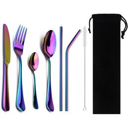 2019 set da pranzo nero Set di posate nere da 8 pezzi con posate colorate in acciaio inossidabile paglia di metallo Coltello da bistecca Forchetta Cucchiaino Set di posate da pranzo set da pranzo nero economici