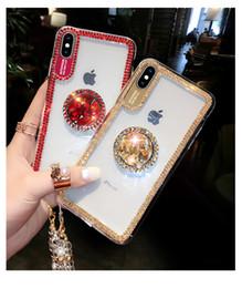 Rhinestone luxuoso do caso do iphone on-line-Luxo Rhinestone Suporte a caixa do telefone para o iPhone 11 Pro Max Xr Xs X 8 7 6 6S Plus Nota 10 PLUS 9 8 S10 S9 S8 macia caso claro com colhedor
