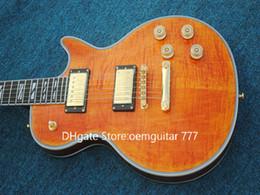Guitarra mogno laranja on-line-Melhor Alta Qualidade Laranja Chama Top Guitarra Elétrica Mahogany Body Hardware Ouro QUENTE