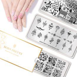 diseños de sellos de metal Rebajas NACIDO Nail 1PC BASTANTE Estampación placas Rec Animal Flower Modelo de la hoja la imagen sello clavo de la plantilla del jardín del resorte para el pulimento