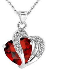 qualidade da pérola aaa Desconto Colar em forma de coração de zircão colar de corrente de cristal cadeia de camisola clavícula Mulheres Coração Strass Pingente de Prata Jóias # 5-6