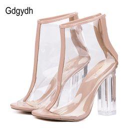 offene stiefel Rabatt Gdgydh high heels sommer schuhe transparent klar stiefeletten für frauen offene spitze dicken absätzen damenschuhe zurück reißverschluss größe 40