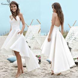 vestidos brancos de mão cheia Desconto Hi-Lo Sexy Praia Vestidos De Casamento Com Bolsos Com Decote Em V Cintas De Espaguete Sem Encosto 2019 Simples Vestidos De Noiva Robe De Mariee Barato