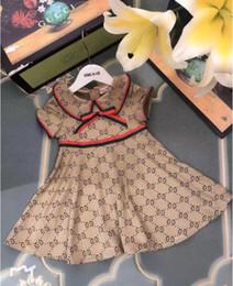 Zitronendrucke online-Sommer Mädchen Mode Brief Kleid Marke Designer G Gedruckt Kleid Geburtstag Party Kleid Lässig Kurzarm T-Shirt