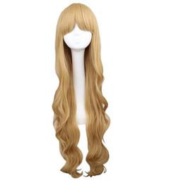 Женщины девушки длинные волнистые косплей блондинка 100 см супер длинные термостойкие парики из синтетических волос supplier super blonde hair от Поставщики супер светлые волосы