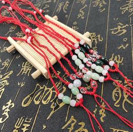 Cordones de oro rojo online-Hombres y mujeres cordón colgante ajustable collar tejido a mano cuerda colgante oro negro rojo cuerda