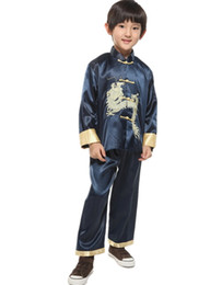chinese dragons art Promo Codes - Shanghai Story Chinese traditional embroider dragon sets for boys Chinese style boy's kungfu suit sets Martial Arts