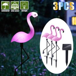 Luz solar exterior do gramado da luz exterior do jardim da decoração do flamingo Luz solar do feriado do diodo emissor de luz de