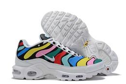 2019 цвет радуги для обуви 2019 TN Кожа цвета радуги Дизайнерская обувь Высококачественные мужчины женщины Белый Requin Hommes Кроссовки спортивные Chausseures Кроссовки дешево цвет радуги для обуви