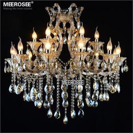 Maria theresa luz araña de cristal online-Maria Theresa Crystal Chandelier Lighting Cognac LED Crystal Lustre 18 Light Lámpara colgante moderna para vestíbulo Pasillo Escalera proyecto MD2225