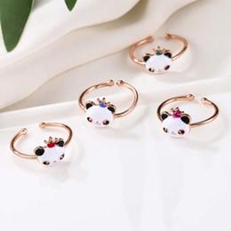 panda geschenke für mädchen Rabatt Niedlichen Panda Ring Tier Mit Krone Bogen Knoten Einstellbare Offene Fingerringe Mädchen Kinder Gold Farbe Metallschmuck Zubehör Geschenk