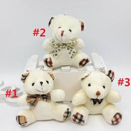 Anelli portachiavi orsacchiotti online-10CM Orsacchiotto con sciarpa peluche bambole bambola portachiavi del regalo del bambino ragazze Giocattoli lancio di matrimonio e di compleanno decorazione del partito