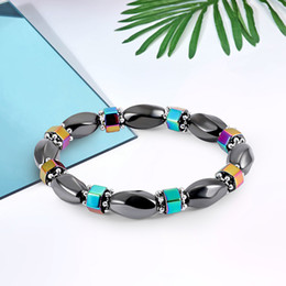 Catena elettrica nera online-New Rainbow Bracciale in ematite magnetica donna Power Healthy Black Gallstone Beads Catene Bangle For Men s Fashion handmade Jewelry