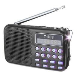 antena de cobre Rebajas T508 Mini luz LED portátil estéreo Radio FM Reproductor de música MP3 Altavoz USB TF, negro