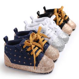 03a72aa4fd433 Printemps et automne 0-1 ans garçons et filles bébé étoiles brillantes  toile chaussures de sport chaussures fond mou bébé bambin chaussures  chaussures bébés ...