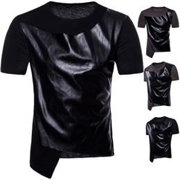 Camisas de homens mangas de couro on-line-Mens Designer T Shitrs Soletrar Couro Legal O-pescoço Manga Curta Estilo Hip Hop Verão Nova Moda Camisas Dos Homens