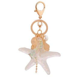 sea shell pearl pendant Coupons - New Sea World Pearl Shell Key Chain Cartoon Key Ring Crystal Tassel Pendant Keychain Girl Women Gift Trendy Jewelry