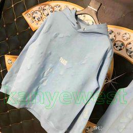 2019 Зима Европа Paris Одежда мужская классическая синяя большая с дырочками Толстовка женская Толстовки модные Джемперы Дизайнерская толстовка с капюшоном от