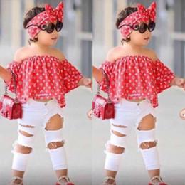 venta al por mayor niños pantalones cortos de camuflaje Rebajas Niños Ropa de verano para niñas Establece Off Top de hombro Camisa + Pantalones de agujero + Ropa para niñas Hairband conjunto Ropa para niños B11