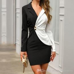 Vestido de oficina profesional de las mujeres online-Vestido corto con botón de contraste ajustado para mujer Vestido corto a rayas con cuello en V Vestido corto de oficina de trabajo de verano de moda