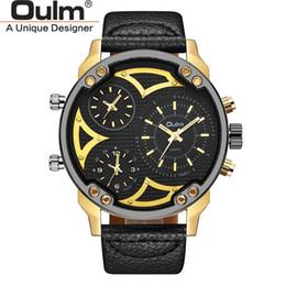 2019 наручные часы Мужские наручные часы Oulm Three Time Zone Мужские кварцевые часы Повседневные часы с кожаным ремешком Мужские спортивные часы дешево наручные часы