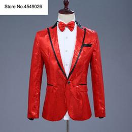 Traje de pajarita roja online-Chaqueta de traje de hombre de lentejuelas Blazer con pajarita Traje rojo Discoteca Cantante Novios de bodas Blazers brillantes