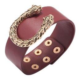 Animais exóticos on-line-Mulheres Largo Popular mulheres pulseiras de couro Personalidade Leopard cabeça em forma de U liga pulseiras simples Exotic Animal Projeto fêmeas