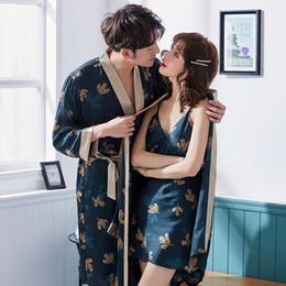 2019 merletti due abiti damigella d'onore di colore Coppia di pigiami da uomo in pigiama estivo da uomo con accappatoio in seta da donna, cardigan, accappatoio in seta