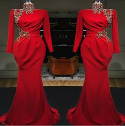 Abiti da sera lunghi sirena rossa collo alto sirena 2019 maniche lunghe in raso con increspature in pizzo con applicazioni formali per abiti da ballo musulmani da