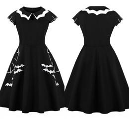 2019 weiße blumen-mittelstücke für hochzeiten Vintage schwarze Halloween kurze Heimkehr Kleider Queen Anne Jewel Ausschnitt eine Linie Abend-Partei-Kleider für Mädchen