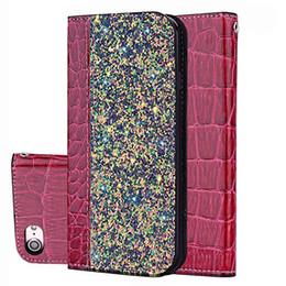 iphone fall leder rhinestone Rabatt Bling Glitter Shiny Leder Flip Folio Wallet Case Kickstand für iPhone 6 7 8 X Xr XS Max Samsung S9 Plus S10 Lite
