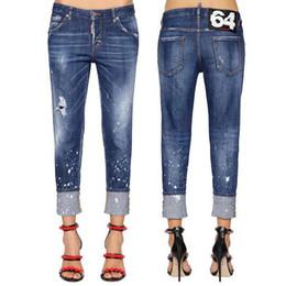 Девушка разорвала джинсы онлайн-2019 Дизайн Европа Мода Женщины Проблемные Окрашенные Dot Тощий Fit Fit Ripped Stone Wash Джинсовые Cool Girl Jeans