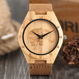 elephant wrist watches Coupons - Bohemian Style Natural Wooden Wristwatch Man's Watches Exquisite Thailand Elephant Engraving Bamboo Wrist Watch Clock Souvenir Gifts