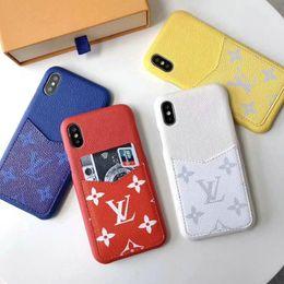 Cartes dures en Ligne-Housse de protection pour téléphone portable avec fente pour carte iphone Xs max XR X 7 7plus 8 8plus 6 6plus couverture rigide