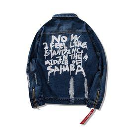 Jeans punk sciolti online-Kanye Cardigan Jacket Denim uomini e donne sciolti strada hip-hop punk foro cerniera polsino jeans giacca lettera stand vintage cappotti