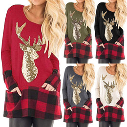 green plaid women s shirt Coupons - Christmas Womens Designer T Shirts Plaid Panelled Gold Reindeer Printed Casual Long Sleeved Crew Neck T Shirts Fashion Womens Tees