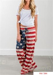 Europa harem pants moda online-Vendite calde Europa Moda Pantaloni svasati Stampa bandiera americana Casual Pantaloni larghi Harem da donna Leggeri polische Capris Pantaloni Taglia S-XL