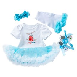 Easter bebê roupas on-line-Meninas de varejo boutique roupas de verão 4 pcs romper set bebê princesa vestido de Páscoa + kneelet + sapatos + faixa de treino de atletismo ternos conjuntos de roupas