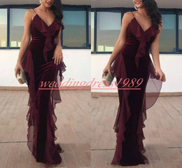 beautiful red evening gowns Promo Codes - Beautiful Memaid Grape Velvet Evening Dresses Pageant Spaghetti Straps Draped Party Prom Gown Robe De Soiree Plus Size Arabic Formal Guest