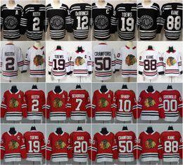 Jersey de hockey 3xl online-Barato Chicago Blackhawks 19 Jonathan Toews camisetas de hockey 88 Patrick Kane 2 Keith 20 Saad 12 Alex DeBrincat Rojo Blanco S-3XL Hombres Mujeres Niños