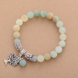 frauen stein armbänder Rabatt Womens Cham Armbänder Matte Amazonite Baum Anhänger Armband Naturstein Phantasie Perlenarmband Schmuck Dropship