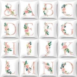 45x45 см детская комната украшения письмо подушка английский алфавит полиэстер чехлы для дивана украшения дома цветок наволочка от Поставщики английский алфавит для детей