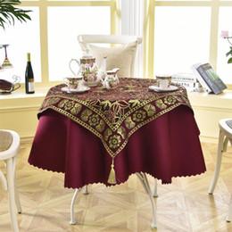 Lenzuola a crochet online-Ultimo 2 Pz / set Rotondo 140 cm Lusso Con Paillettes Tavolo Da Pranzo All'aperto Moda Crochet Jacquard Vino Rosso Giardino Tovaglia Decorazione
