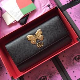 Schmetterling designer taschen online-Neu Leder Brieftasche aus Leder mit Schmetterling Damenbrieftasche Mini-Tasche Schwarzes Leder Luxus Designer Fashion Bag