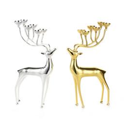 Portacandele di cervo lussuoso Portacandele in acciaio inox Candeliere Centrotavola di matrimonio Candelabri Decorazione Forniture per feste di Natale da